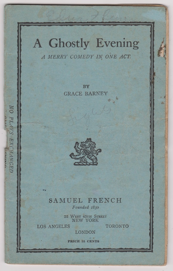 A Ghostly Evening: A Merry Comedy in One Act, Barney, Grace