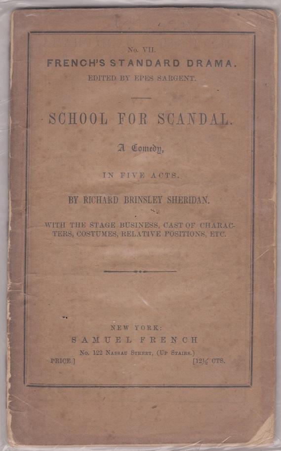 School For Scandal: A Comedy, Sheridan, Richard Brinsley