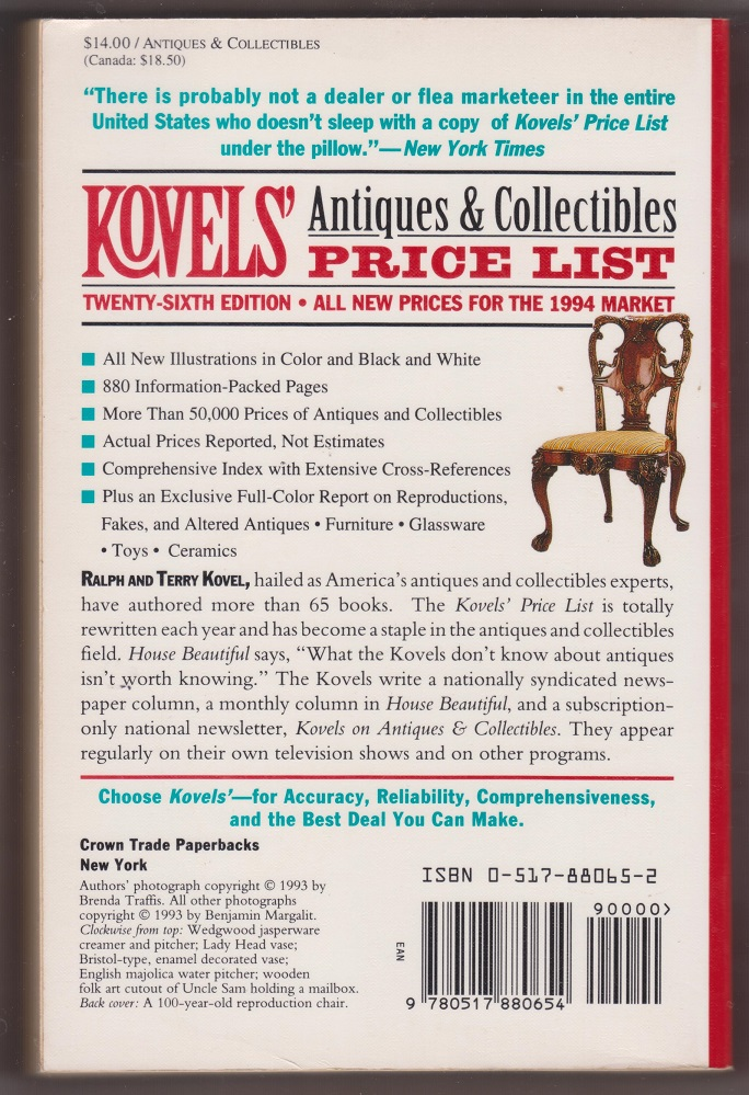 Image for Kovel's Antiques And Collectibles Price List 1994