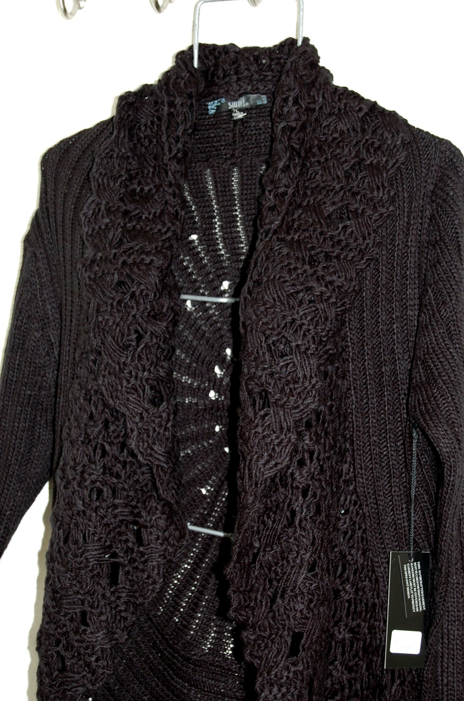 NWT SIONI Ebene Black Large Crocheted Collar Cardigan Sweater Coat ...